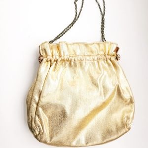 Vintage Gold Kiss Lock Top Evening Bag